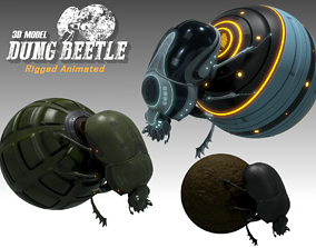 3D model animated Dung Beetle