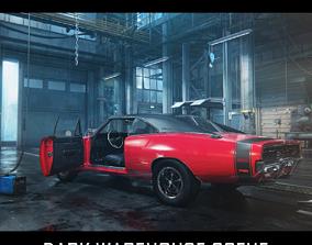 game-ready 3D 1969 Dodge Charger in Dark Garage