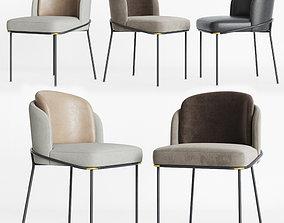 3D model brass Minotti Fil noir Dining chair