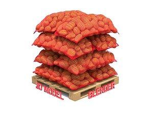 3D model Potatoes in Red Burlap Sacks on the Pallet