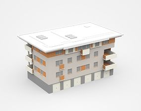 Three-storey Living Apartment With Garages And 3D model