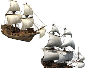 3D Collection of Sailboats
