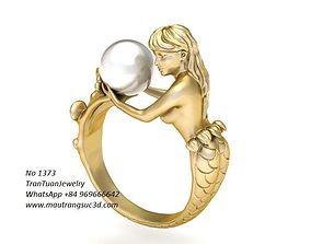 1373 Pearl Mermaild Ring 3D print model