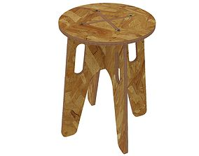 3D printable model Wooden stool for CNC router or laser 1