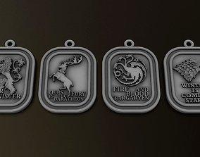Game of Throne Pendants set 3D print model