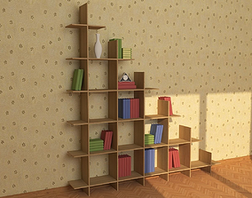 3D model VR / AR ready Wooden Bookshelf 01