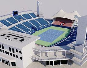 3D model low-poly Dubai Tennis Stadium