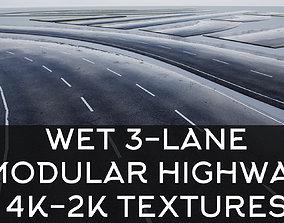 PBR 4K-2K Three-Lane Wet Modular Highway Roads 3D asset