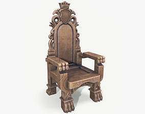 3D model Wooden Throne lowpoly