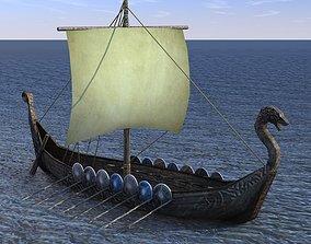 3D asset VR / AR ready Viking ship