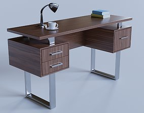 Silver Metal Computer Desk 3D