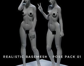 3D asset Realistic Basemeah - Female - Pose Pack