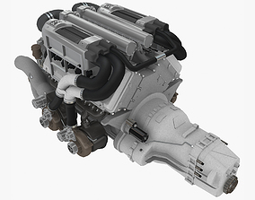 Bugatti Veyron W16 engine 3D asset