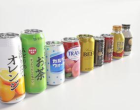 Drink Can - 500ml 350ml 185ml Bottle 3D model