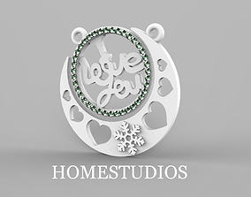 PENDANT LOVE silver 3D printable model