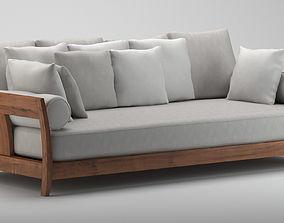 3D model Grey & Wooden Sofa