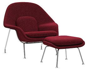 Knoll Saarinen Womb Chair and Ottoman 3D
