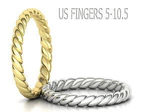 3mm Rope design Wedding band ring 3dmodel