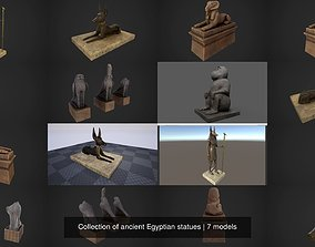 3D Collection of ancient Egyptian statues