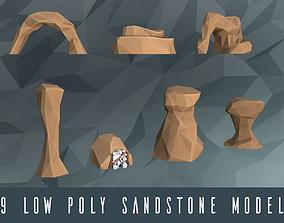 3D asset Low poly rocks