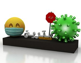 Coronavirus awareness and protection 3D model low-poly
