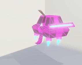 Low poly Sci-Fi Flying Car 3D model