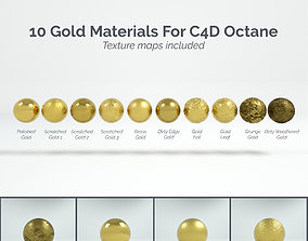 3D 10 Gold Materials For Cinema4D Octane Render