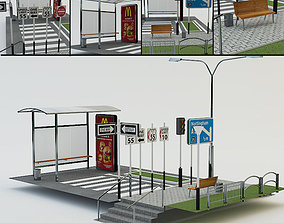 3D model low-poly street elements collection