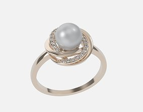 ring with pearls 3D print model jewelry