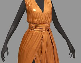 3D asset polygon art long orange dress white high heel 1