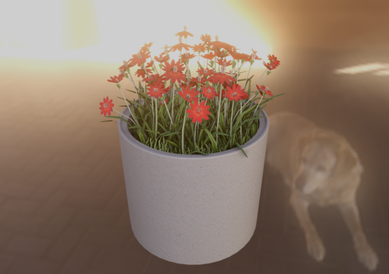 Concrete Pot 800mm with Red Flowers Version 1 (Blender-2.91 Eevee)