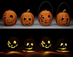 3D model Halloween pumpkins set