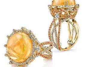 pearl engagement ring 3D printable model rings