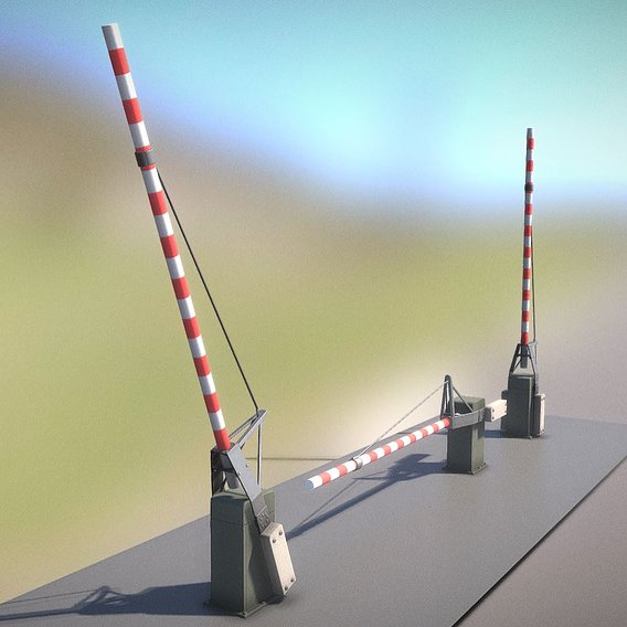 Low-Poly Railroad Barrier 4m
