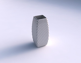 3D print model Vase rectangle with grid piramides