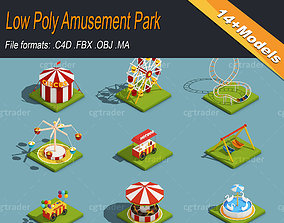 3D asset Low Poly Amusement Park