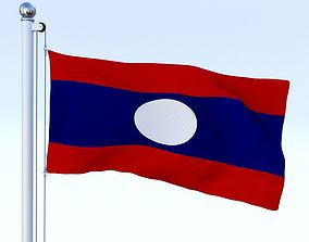 3D model Animated Laos Flag