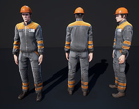 Worker 3D asset animated