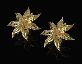 3D print model Flower with long leaves Earrings