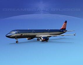 Airbus A321 Jet American 3D model