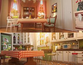 3D model Cartoon Kitchen Dining Room