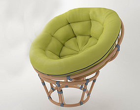Round wicker chair papasan 3D