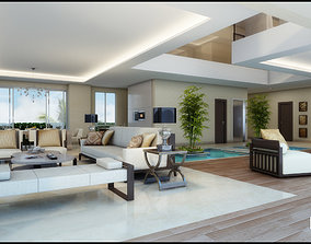 3D Modern White Living Room With Waterpool