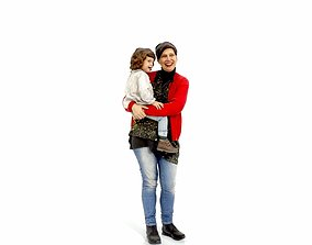 3D Happy Woman Carrying Small Girl CFam0002-HD2-O01P01-S