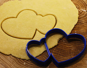3D print model Two hearts cookie cutter for professional