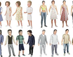 3D Family 16x models real cloth simulation conversation