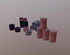 Barrels and treys kit 3D asset