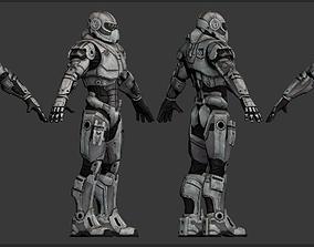 3D asset man in a spacesuit