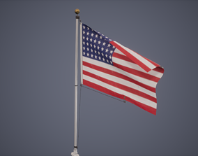 Flag Low Poly Game Ready 3D model
