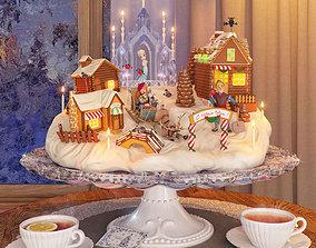 Christmas sweet gingerbread 3D asset game-ready